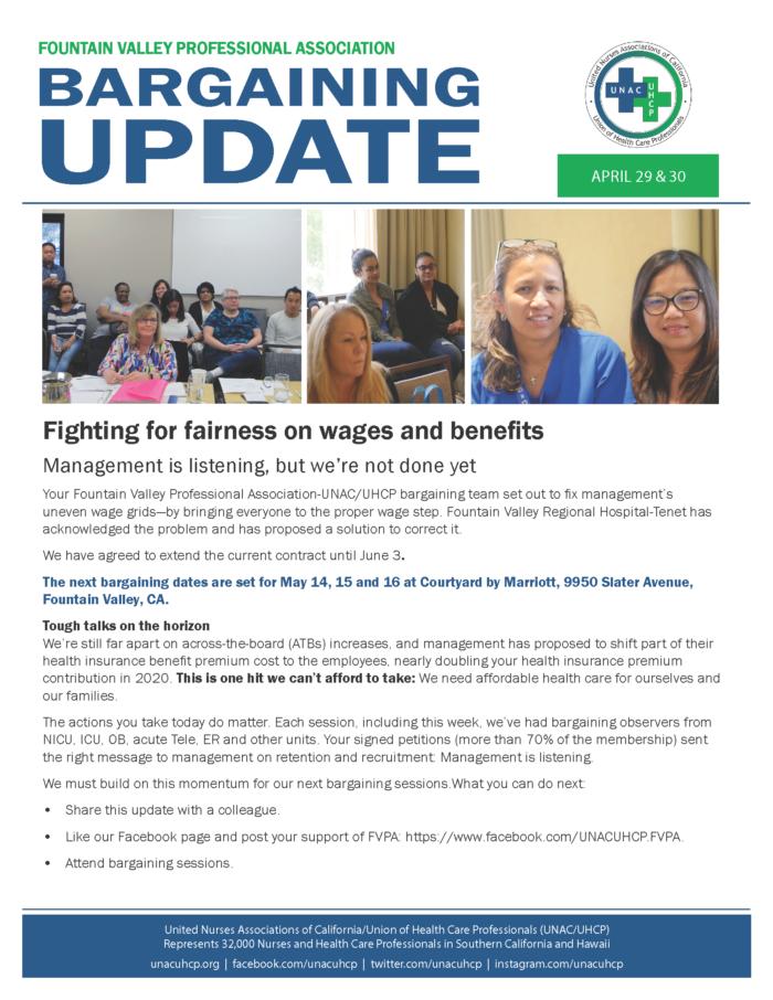 Fountain Valley Bargaining Update: April 29-30, 2019 - UNAC/UHCP